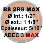 "Roulement R8 2RS MAX 1/2 x 1 1/8 x 5/16"" (12,7 x 28,57 x 7,94 mm)"