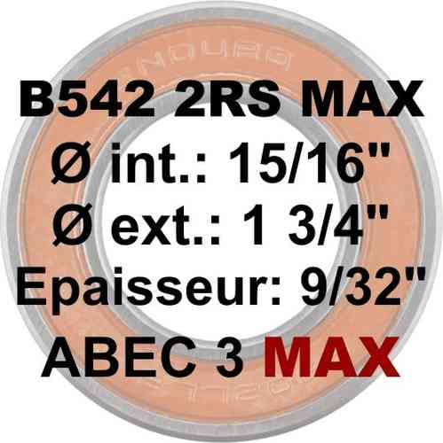 Roulement B542 2RS MAX 15/16x1 3/4x9/32""