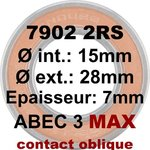 Roulement 7902 2RS MAX 15x28x7 contact oblique