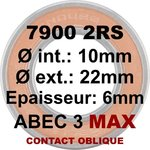 Roulement 7900 2RS MAX 10x22x6 contact oblique